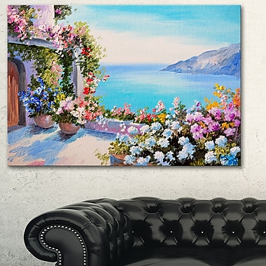 Art mural en métal, panorama, mer et fleurs, 28 x 12 po (MT6313-28-12)