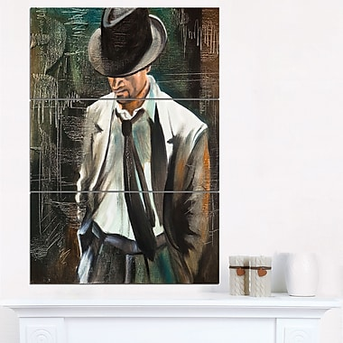 The Gentleman Portrait Metal Wall Art, 28x36, 3 Panels, (MT6315-28-36)