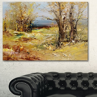 Yellow Forest Landscape Metal Wall Art, 28x12, (MT6316-28-12)