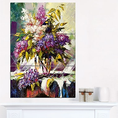 Lilac Bouquet in a Vase Floral Metal Wall Art, 28x36, 3 Panels, (MT6318-28-36)