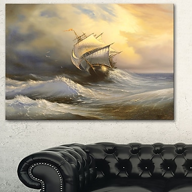 Vessel in Stormy Sea Seascape Metal Wall Art, 28x12, (MT6324-28-12)