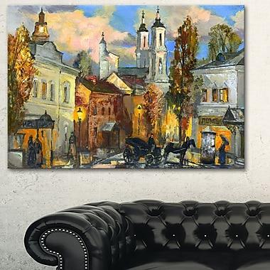 Art mural en métal, paysage urbain, vieille ville, 28 x 12 po, (MT6327-28-12)