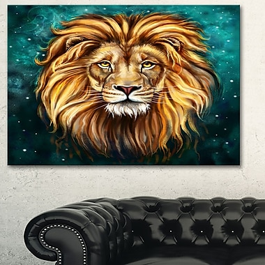 Lion Head in Blue Animal Metal Wall Art, 28x12, (MT6331-28-12)