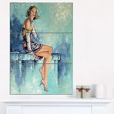 Girl with Glass Portrait Metal Wall Art
