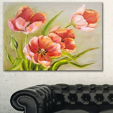 Vintage Red Tulips Floral Metal Wall Art, 28x12, (MT6334-28-12)