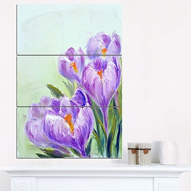 Crocuses Looking into Sky Floral Metal Wall Art, 28x36, 3 Panels, (MT6338-28-36)