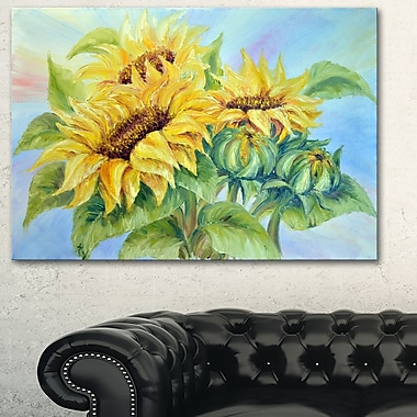 Three Sunflowers Floral Metal Wall Art, 28x12, (MT6339-28-12)