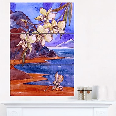 White Orchid with Sea Floral Metal Wall Art