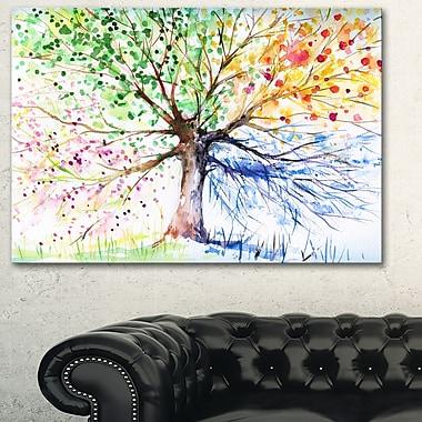 Four Seasons Tree Floral Metal Wall Art, 28x12, (MT6347-28-12)