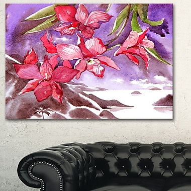 Red Orchid with Sea Floral Metal Wall Art, 28x12, (MT6348-28-12)