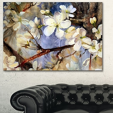 White Spring Flowers Floral Metal Wall Art, 28x12, (MT6349-28-12)