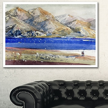 Mountains and Blue Sea Landscape Metal Wall Art, 28x12, (MT6350-28-12)