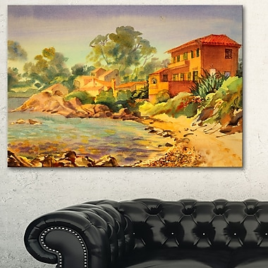 French Riviera Landscape Metal Wall Art, 28x12, (MT6351-28-12)