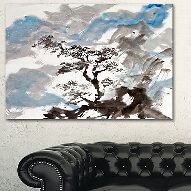 Art mural en métal d'arbres, pin chinois, 28 x 12 po (MT6352-28-12)