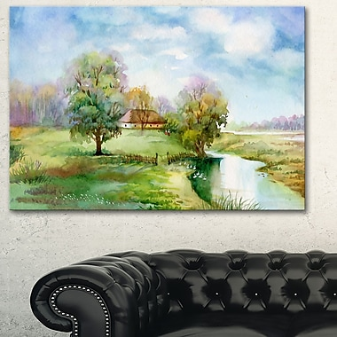 Village Life Landscape Metal Wall Art, 28x12, (MT6354-28-12)
