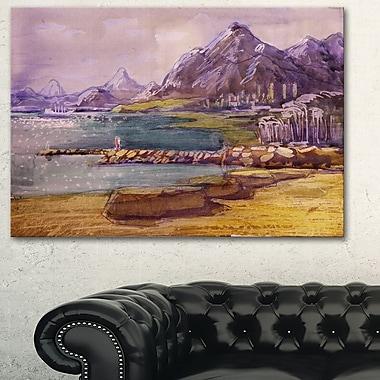 Art mural en métal, paysage, collines violettes, 28 x 12 po (MT6355-28-12)