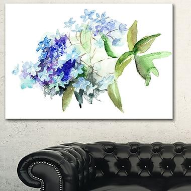 Art mural floral en métal, fleurs d'Hortensia bleues, 28 x 12 po (MT6356-28-12)