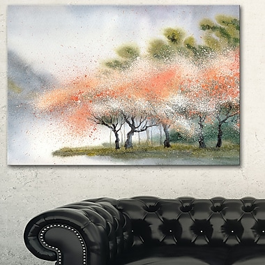 Trees with Flowers Near River Landscape Metal Wall Art, 28x12, (MT6359-28-12)