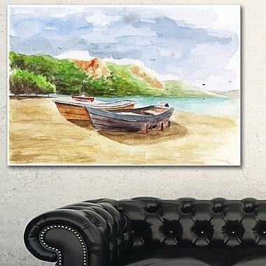 WaterColour Fishing Boats Landscape Metal Wall Art, 28x12, (MT6360-28-12)