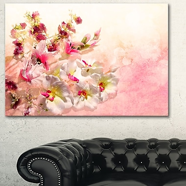 Pink Bouquet of Flowers Floral Metal Wall Art, 28x12, (MT6362-28-12)