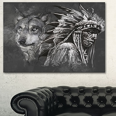 Wolf and American Indian Chief Metal Wall Art, 28x12, (MT6363-28-12)