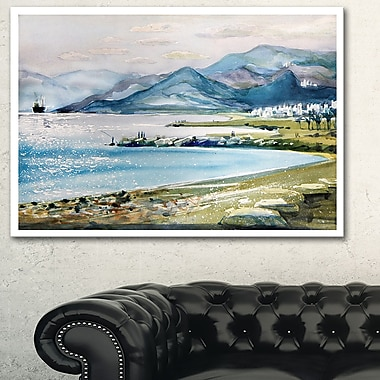 Blue Hills Over Sea Landscape Metal Wall Art, 28x12, (MT6364-28-12)