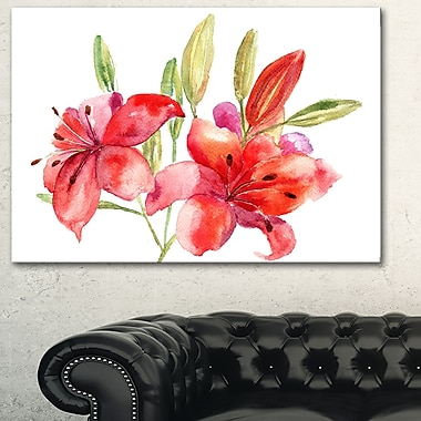 Lily Flowers Illustration Floral Metal Wall Art, 28x12, (MT6366-28-12)