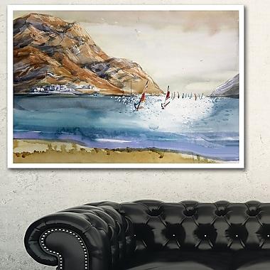 Mountains in Sea Seascape Metal Wall Art, 28x12, (MT6371-28-12)