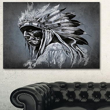 American Indian Tattoo Portrait Metal Wall Art, 28x12, (MT6372-28-12)