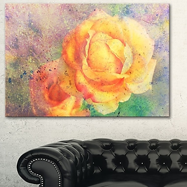 Yellow Rose WaterColour Floral Metal Wall Art, 28x12, (MT6375-28-12)