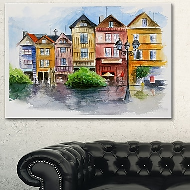 Little City in WaterColour Landscape Metal Wall Art, 28x12, (MT6378-28-12)