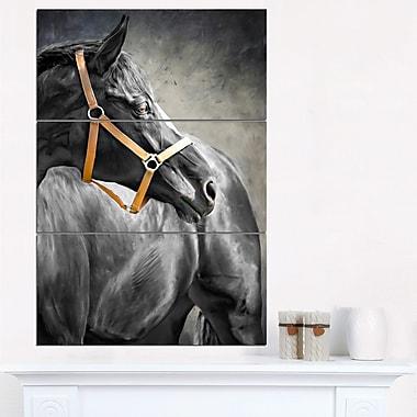 Art mural en métal d'animal, cheval noir, 28 x 36 po, 3 panneaux, (MT6379-28-36)