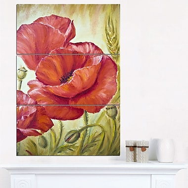 Poppies in Wheat Floral Metal Wall Art, 28x36, 3 Panels, (MT6381-28-36)