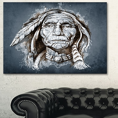 Sketch of Tattoo American Indian Portrait Metal Wall Art, 28x12, (MT6383-28-12)