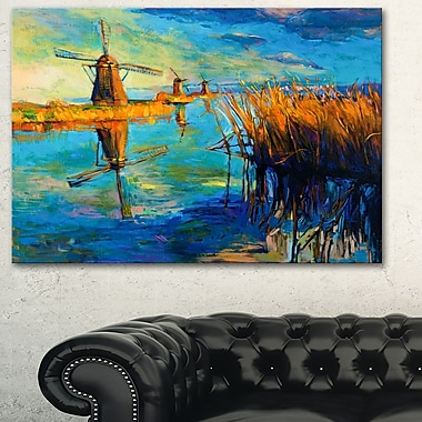 Windmills with Sky and Water Landscape Metal Wall Art, 28x12, (MT6384-28-12)