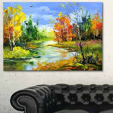 Fusion of Autumn Shades Landscape Metal Wall Art, 28x12, (MT6388-28-12)
