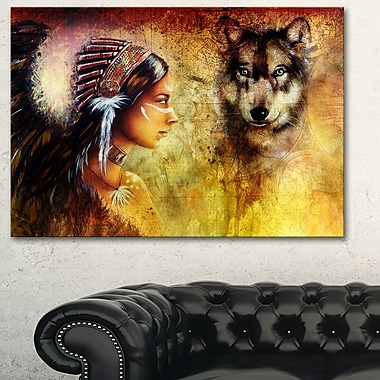 Woman with Wolf Portrait Metal Wall Art, 28x12, (MT6395-28-12)