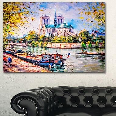Notre Dame Paris Landscape Metal Wall Art, 28x12, (MT6398-28-12)