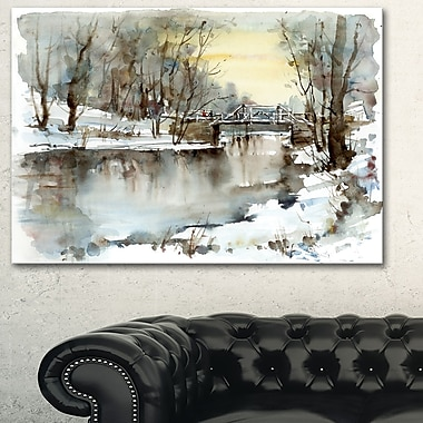 White Bridge Over River Landscape Metal Wall Art, 28x12, (MT6400-28-12)