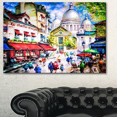 Art mural en métal, paysage urbain, Sacre Coeur et Montmartre, 28 x 12 po (MT6402-28-12)