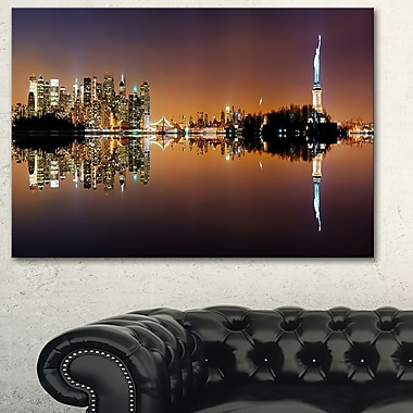 Manhattan City Panorama Cityscape Metal Wall Art, 28x12, (MT6404-28-12)