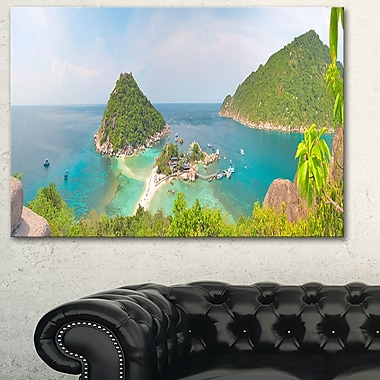 Tropical Island Panorama Landscape Photo Metal Wall Art, 28x12, (MT6407-28-12)
