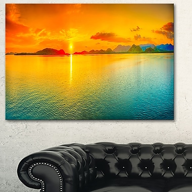 Sunset Over Sea Panorama Seascape Metal Wall Art, 28x12, (MT6411-28-12)