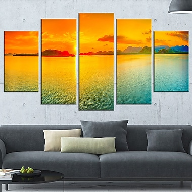 Sunset Over Sea Panorama Seascape Metal Wall Art, 60x32, 5 Panels, (MT6411-373)