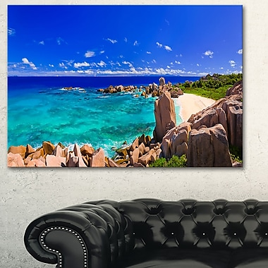 Tropical Beach Panorama Seascape Photo Metal Wall Art, 28x12, (MT6412-28-12)