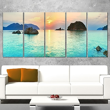 Sunrise Panorama Photography Metal Wall Art, 60x28, 5 Panels, (MT6413-401)