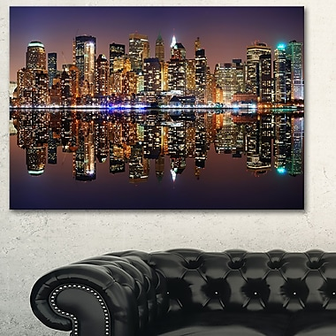 City of Manhattan Panorama Cityscape Metal Wall Art, 28x12, (MT6414-28-12)