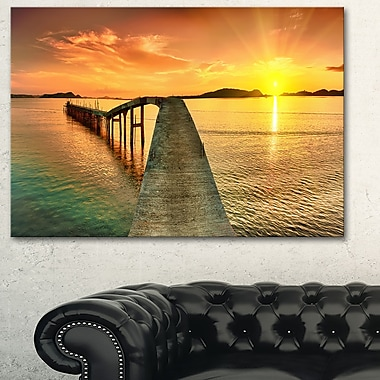 Sunset over Pier Panorama Photography Metal Wall Art, 28x12, (MT6415-28-12)