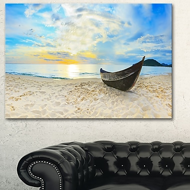 Calm Beach Panorama Photo Metal Wall Art, 28x12, (MT6417-28-12)