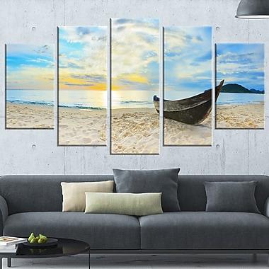 Art mural en métal, photographie de panorama, plage calme, 60 x 32 po, 5 panneaux, (MT6417-373)